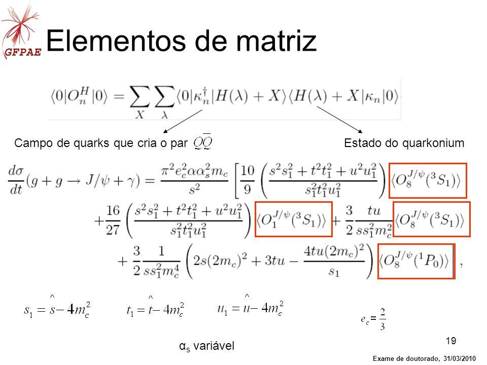 19 Elementos de matriz Campo de quarks que cria o parEstado do quarkonium α s variável Exame de doutorado, 31/03/2010
