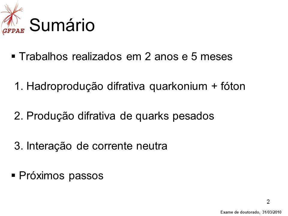 2 Sumário Trabalhos realizados em 2 anos e 5 meses 1. Hadroprodução difrativa quarkonium + fóton 2. Produção difrativa de quarks pesados 3. Interação