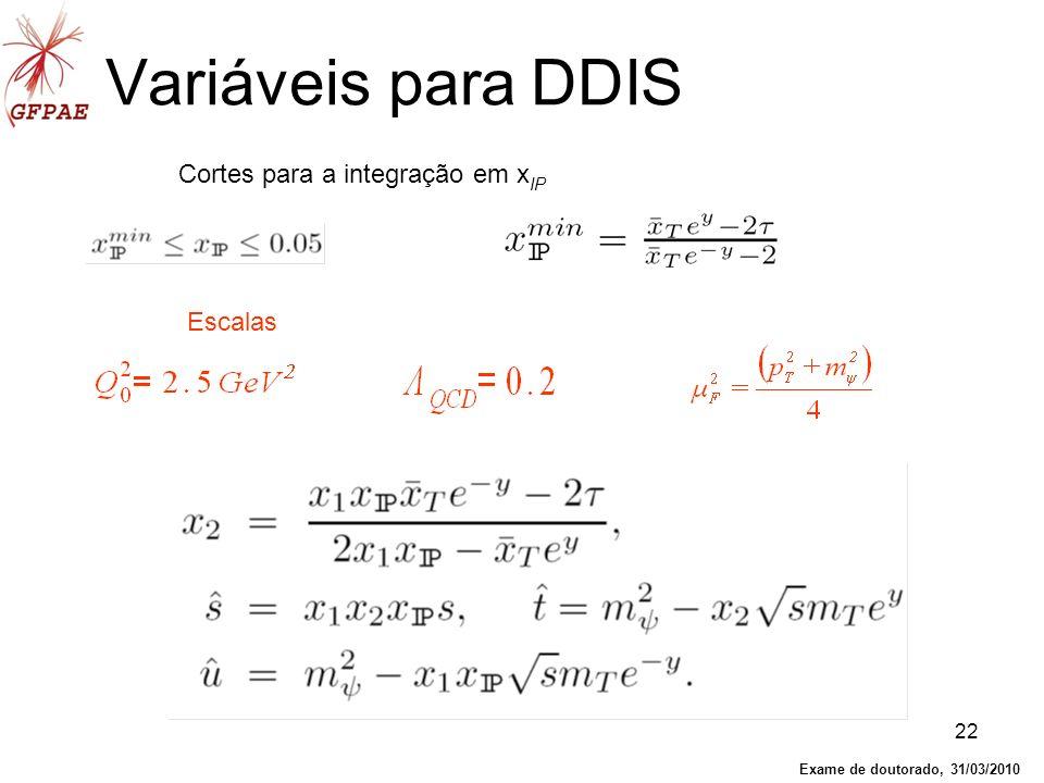 22 Variáveis para DDIS Cortes para a integração em x IP Escalas Exame de doutorado, 31/03/2010
