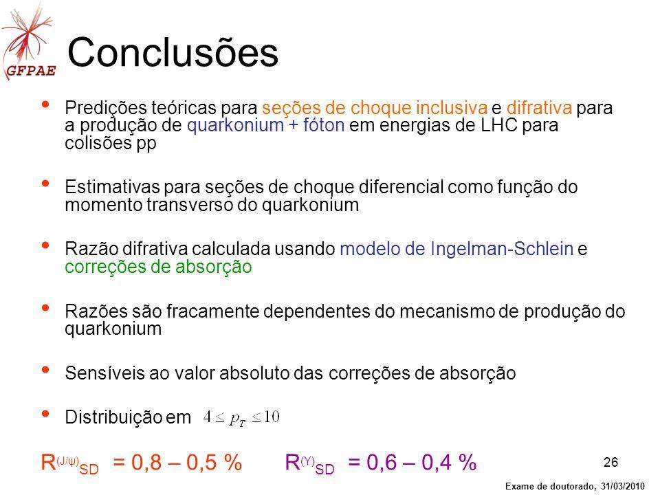 26 Conclusões Predições teóricas para seções de choque inclusiva e difrativa para a produção de quarkonium + fóton em energias de LHC para colisões pp