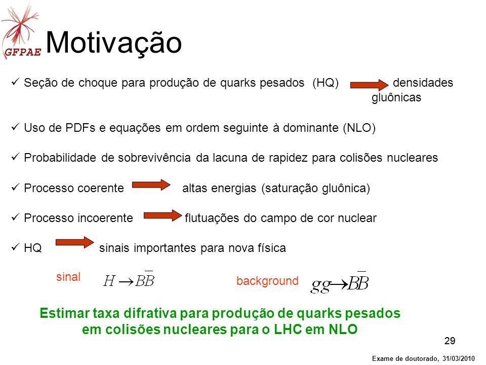 29 Seção de choque para produção de quarks pesados (HQ) densidades gluônicas Uso de PDFs e equações em ordem seguinte à dominante (NLO) Probabilidade