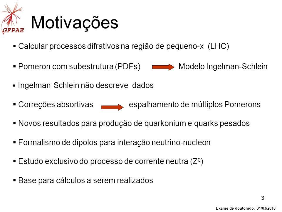 3 Motivações Calcular processos difrativos na região de pequeno-x (LHC) Pomeron com subestrutura (PDFs) Modelo Ingelman-Schlein Ingelman-Schlein não d