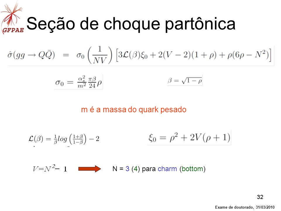 32 Seção de choque partônica N = 3 (4) para charm (bottom) m é a massa do quark pesado Exame de doutorado, 31/03/2010