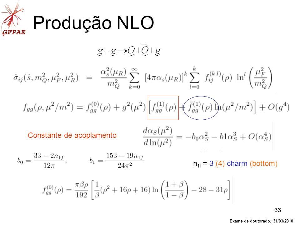 33 Produção NLO Constante de acoplamento n 1f = 3 (4) charm (bottom) Exame de doutorado, 31/03/2010