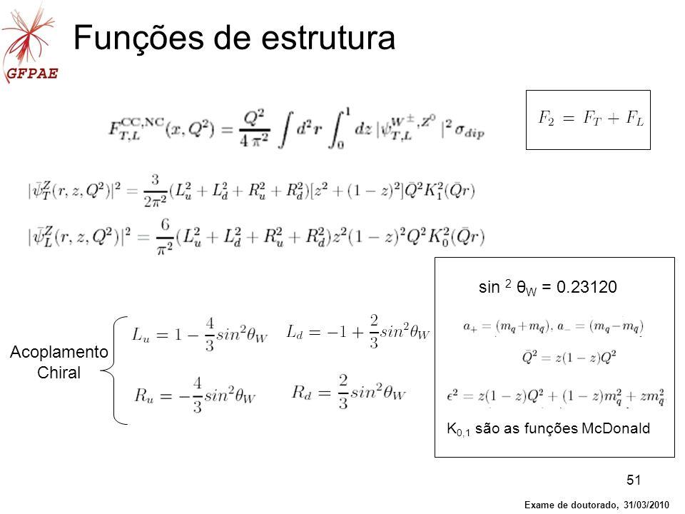 51 Funções de estrutura Acoplamento Chiral sin 2 θ W = 0.23120 K 0,1 são as funções McDonald Exame de doutorado, 31/03/2010
