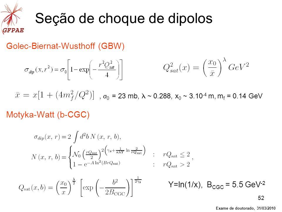 52 Seção de choque de dipolos Golec-Biernat-Wusthoff (GBW) Motyka-Watt (b-CGC), 0 = 23 mb, ~ 0.288, x 0 ~ 3.10 -4 m, m f = 0.14 GeV Y=ln(1/x), B CGC =