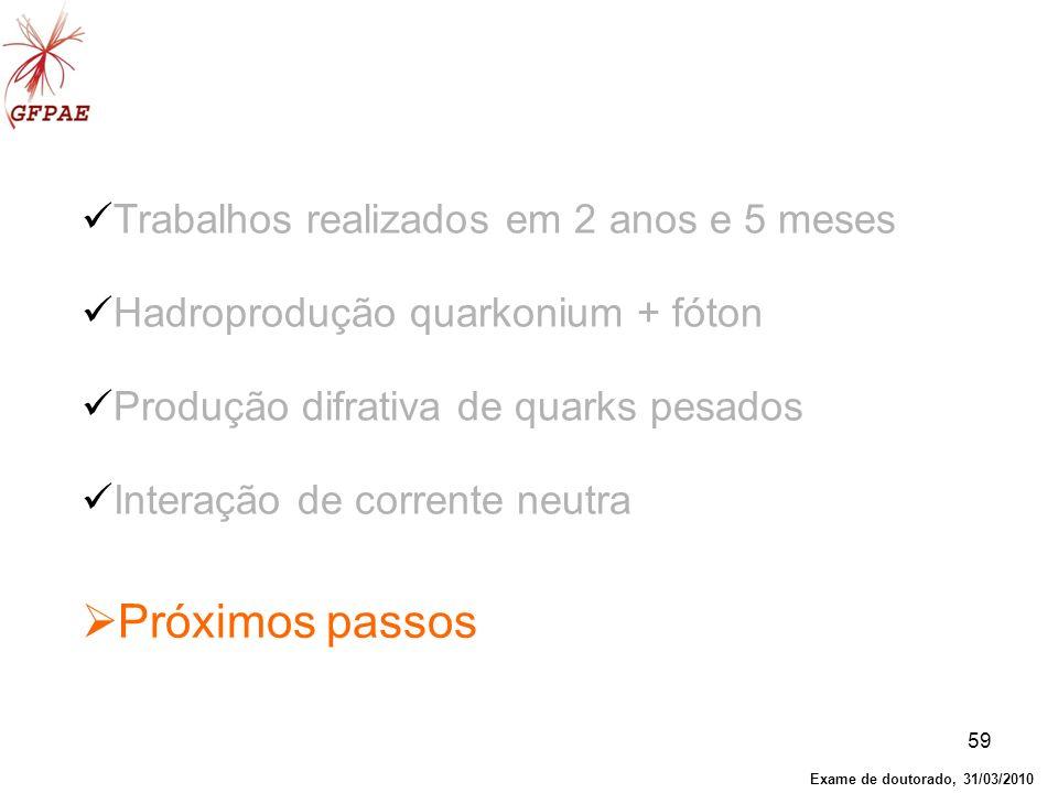 59 Próximos passos Trabalhos realizados em 2 anos e 5 meses Hadroprodução quarkonium + fóton Produção difrativa de quarks pesados Interação de corrent