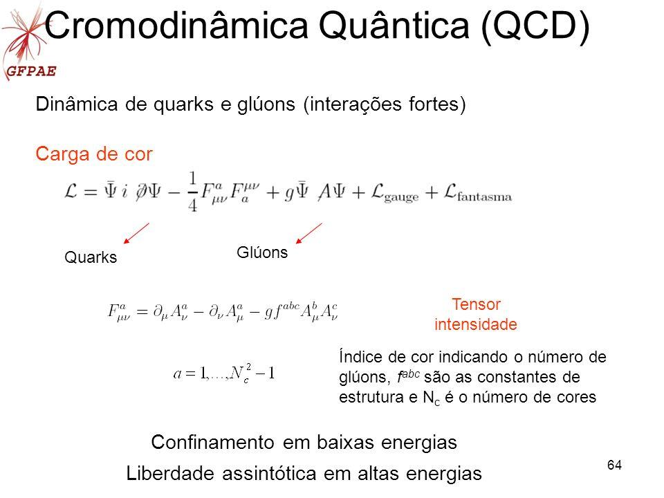 64 Cromodinâmica Quântica (QCD) Dinâmica de quarks e glúons (interações fortes) Carga de cor Quarks Glúons Confinamento em baixas energias Liberdade a