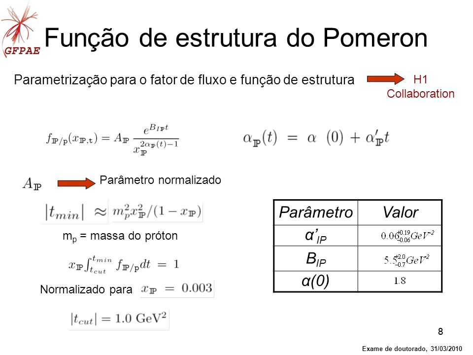 88 Função de estrutura do Pomeron Parametrização para o fator de fluxo e função de estrutura Parâmetro normalizado m p = massa do próton ParâmetroValo