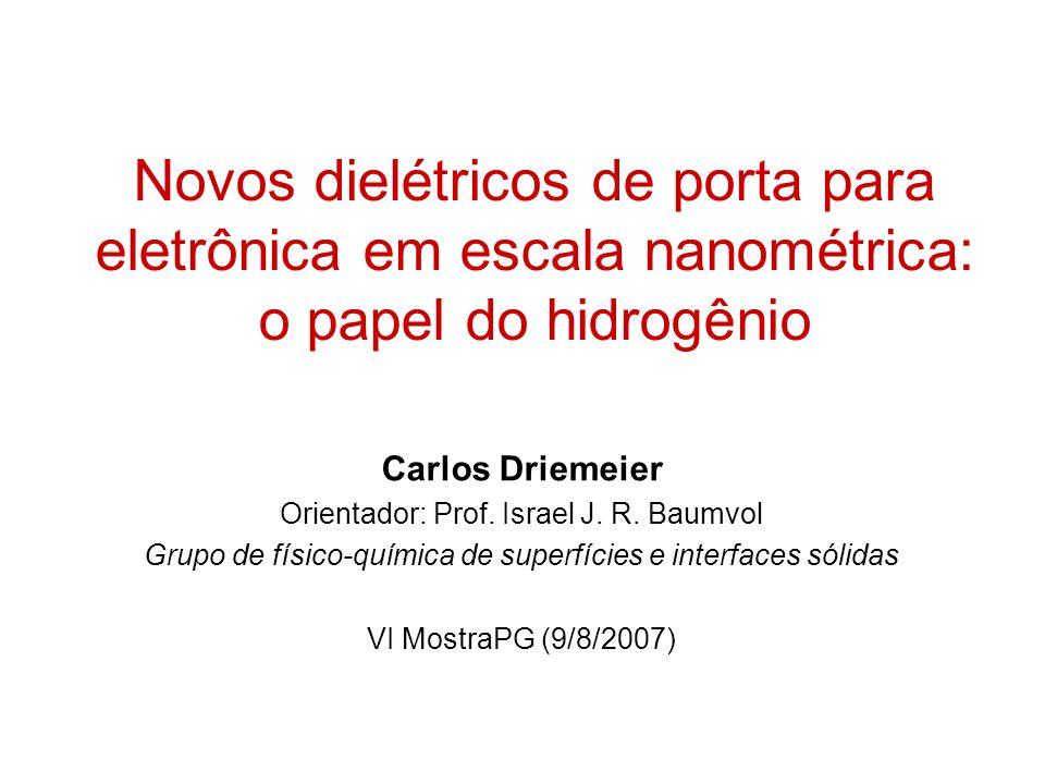 Novos dielétricos de porta para eletrônica em escala nanométrica: o papel do hidrogênio Carlos Driemeier Orientador: Prof. Israel J. R. Baumvol Grupo