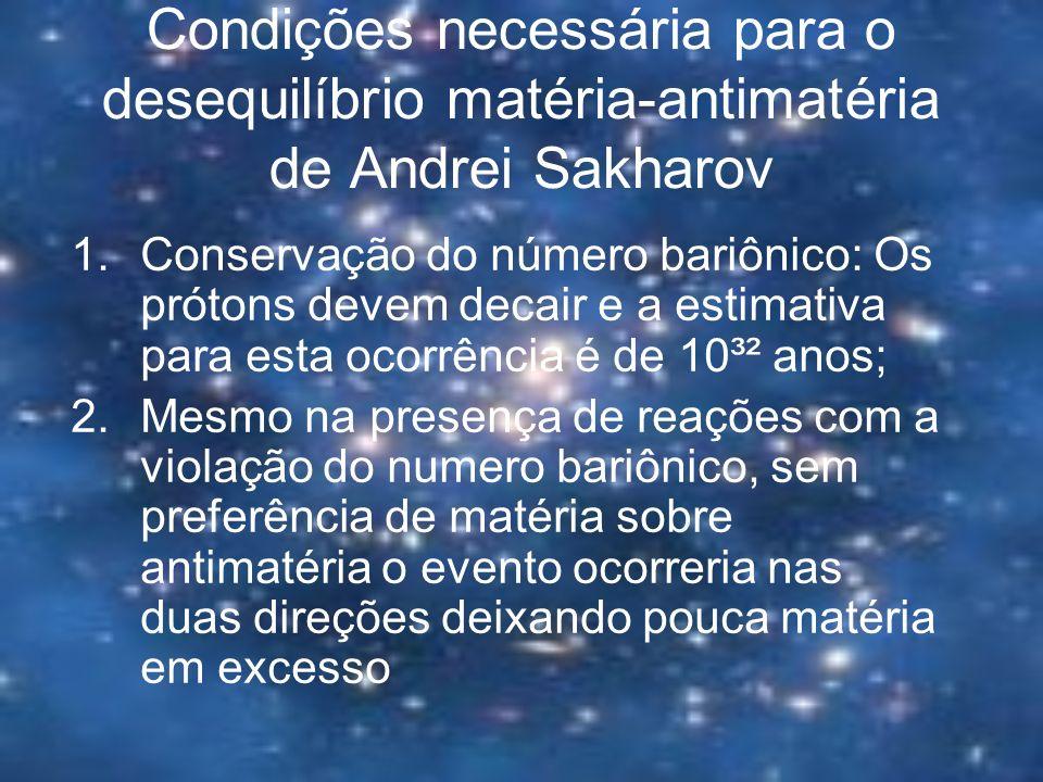 Condições necessária para o desequilíbrio matéria-antimatéria de Andrei Sakharov 1.Conservação do número bariônico: Os prótons devem decair e a estima