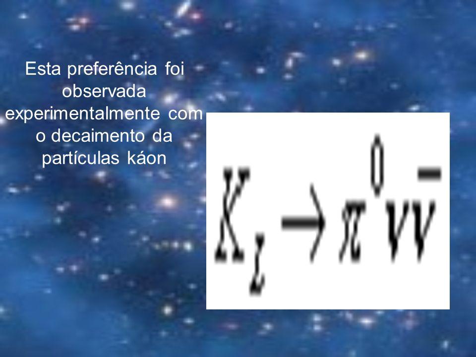 Esta preferência foi observada experimentalmente com o decaimento da partículas káon