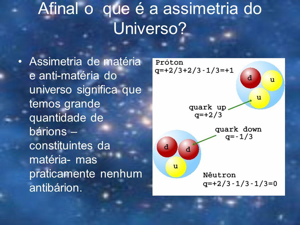 Afinal o que é a assimetria do Universo? Assimetria de matéria e anti-matéria do universo significa que temos grande quantidade de bárions – constitui