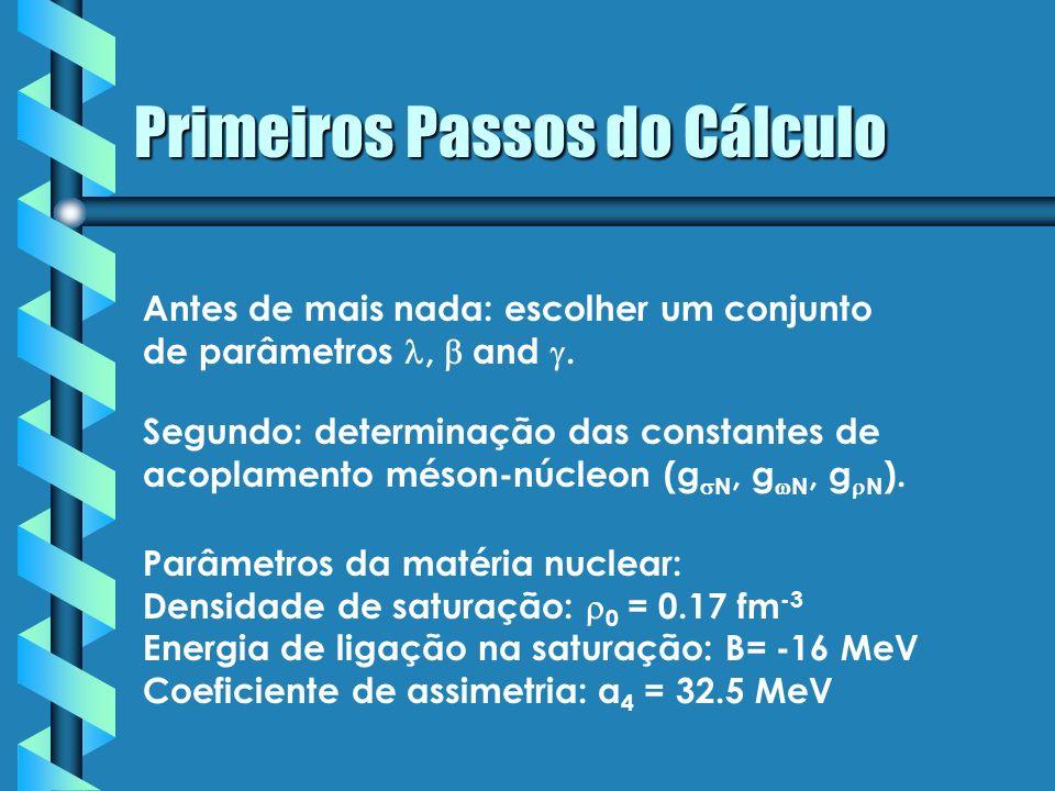 Primeiros Passos do Cálculo Parâmetros da matéria nuclear: Densidade de saturação: 0 = 0.17 fm -3 Energia de ligação na saturação: B= -16 MeV Coeficie