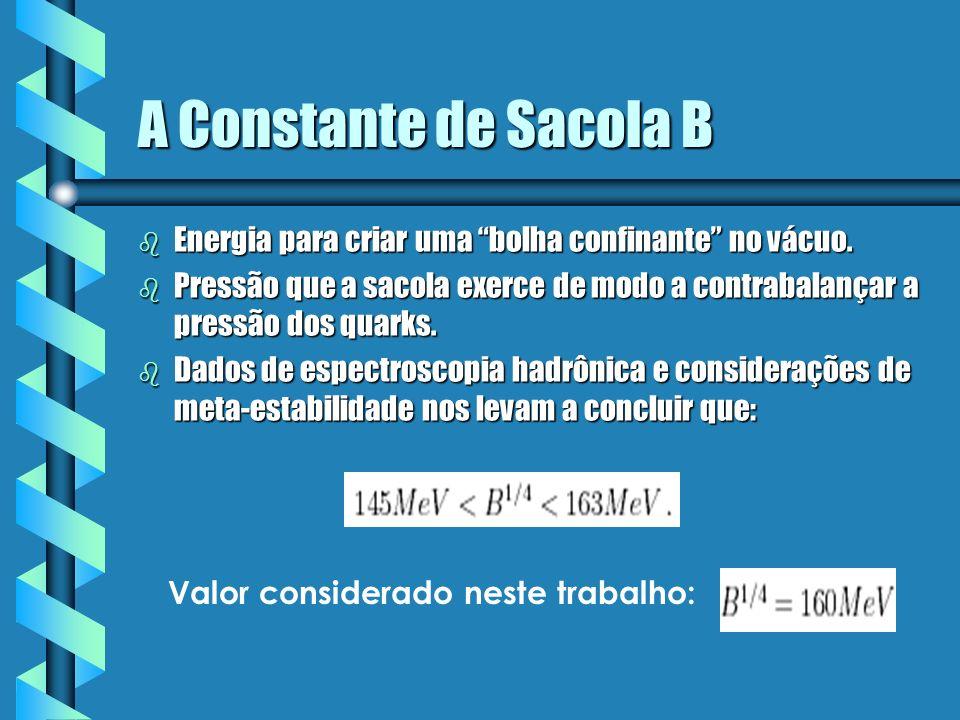 A Constante de Sacola B b Energia para criar uma bolha confinante no vácuo. b Pressão que a sacola exerce de modo a contrabalançar a pressão dos quark