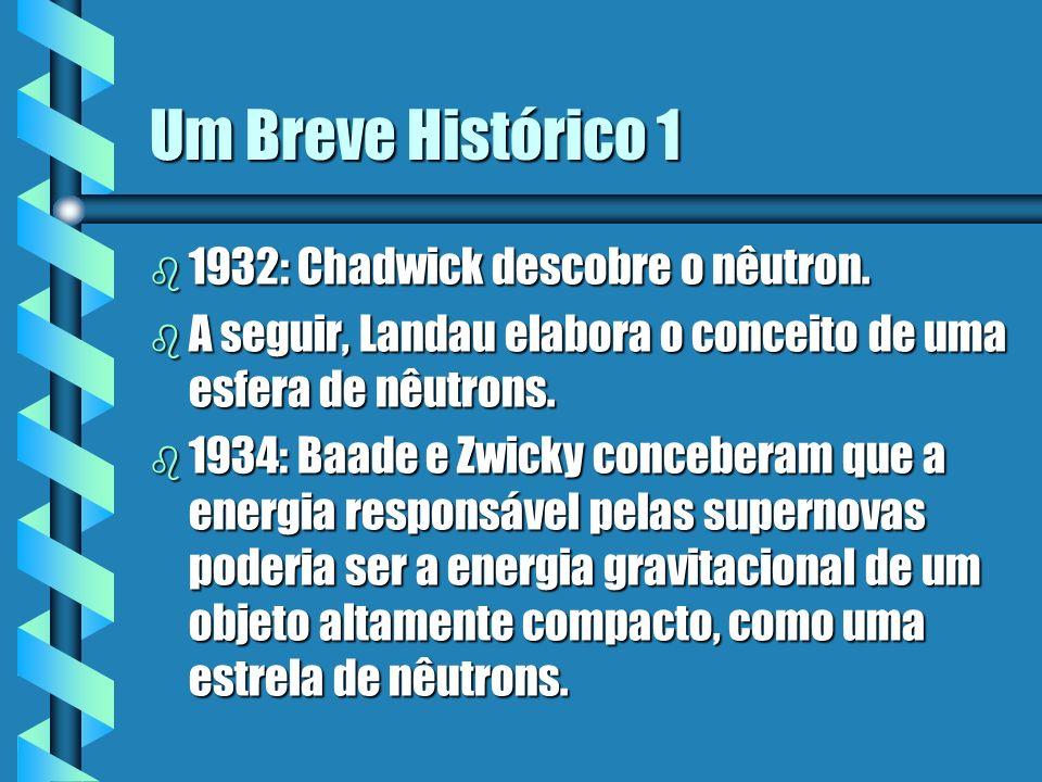 Um Breve Histórico 1 b 1932: Chadwick descobre o nêutron. b A seguir, Landau elabora o conceito de uma esfera de nêutrons. b 1934: Baade e Zwicky conc