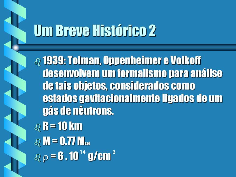 Um Breve Histórico 2 b 1939: Tolman, Oppenheimer e Volkoff desenvolvem um formalismo para análise de tais objetos, considerados como estados gavitacio