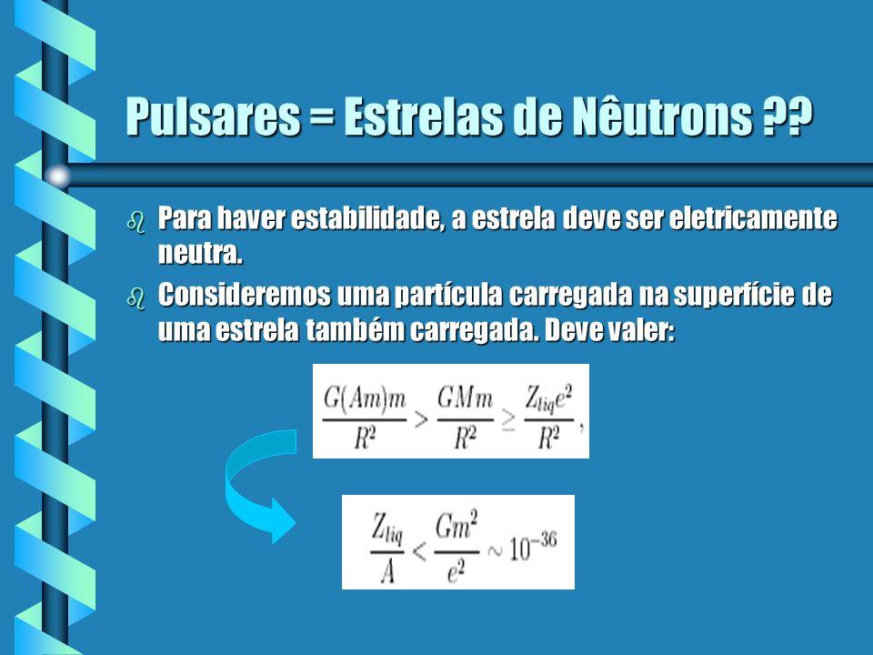 Pulsares = Estrelas de Nêutrons ?? b Para haver estabilidade, a estrela deve ser eletricamente neutra. b Consideremos uma partícula carregada na super