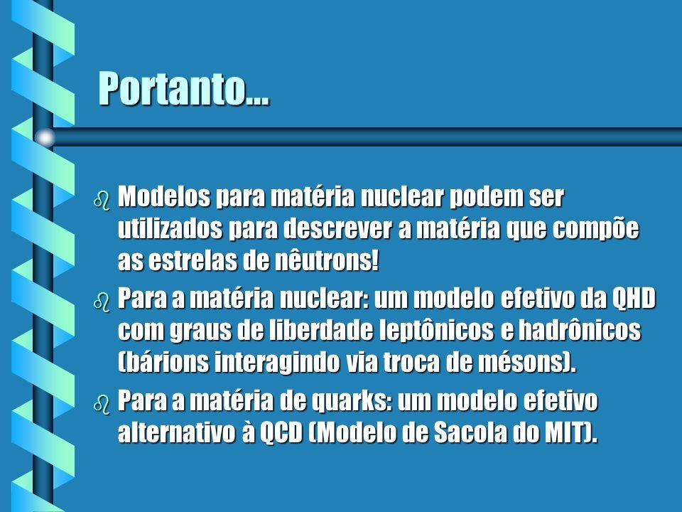 Portanto... b Modelos para matéria nuclear podem ser utilizados para descrever a matéria que compõe as estrelas de nêutrons! b Para a matéria nuclear: