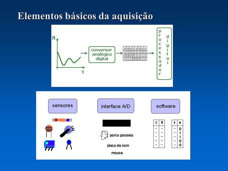 Outras noções básicas: estado lógico número de valores mensuráveis com um sistema de 4, 8, 16 bits taxa de amostragem