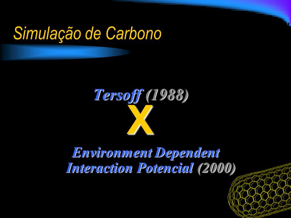 Simulação de Carbono Tersoff (1988) Environment Dependent Interaction Potencial (2000) X