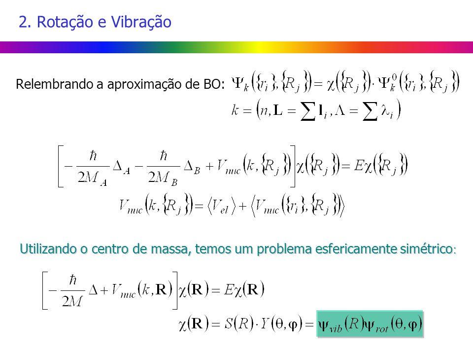 2. Rotação e Vibração Relembrando a aproximação de BO: Utilizando o centro de massa, temos um problema esfericamente simétrico :