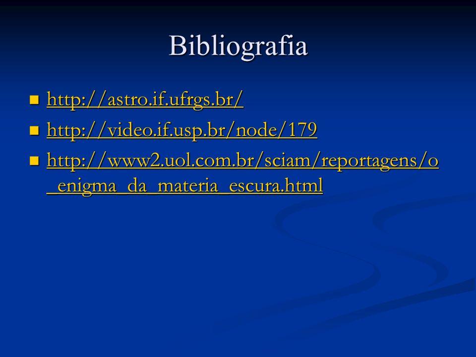 Bibliografia http://astro.if.ufrgs.br/ http://astro.if.ufrgs.br/ http://astro.if.ufrgs.br/ http://video.if.usp.br/node/179 http://video.if.usp.br/node/179 http://video.if.usp.br/node/179 http://www2.uol.com.br/sciam/reportagens/o _enigma_da_materia_escura.html http://www2.uol.com.br/sciam/reportagens/o _enigma_da_materia_escura.html http://www2.uol.com.br/sciam/reportagens/o _enigma_da_materia_escura.html http://www2.uol.com.br/sciam/reportagens/o _enigma_da_materia_escura.html
