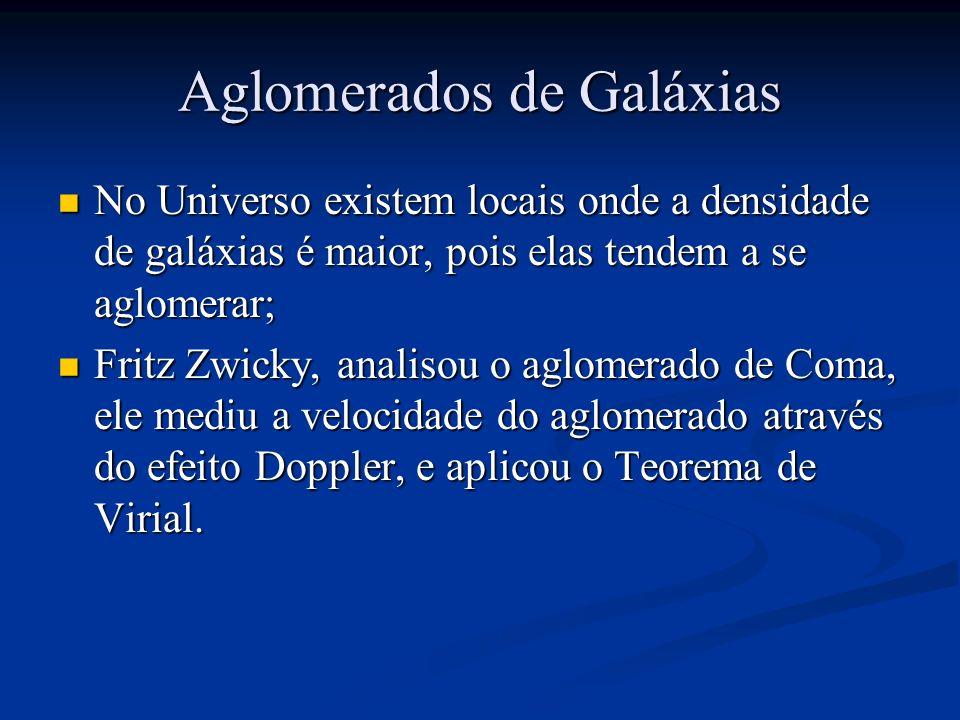 Aglomerados de Galáxias No Universo existem locais onde a densidade de galáxias é maior, pois elas tendem a se aglomerar; No Universo existem locais onde a densidade de galáxias é maior, pois elas tendem a se aglomerar; Fritz Zwicky, analisou o aglomerado de Coma, ele mediu a velocidade do aglomerado através do efeito Doppler, e aplicou o Teorema de Virial.