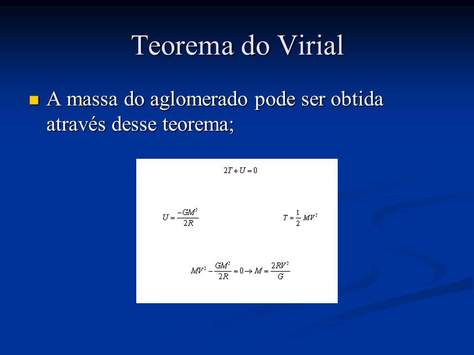 Teorema do Virial A massa do aglomerado pode ser obtida através desse teorema; A massa do aglomerado pode ser obtida através desse teorema;