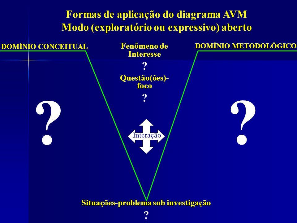 DOMÍNIO METODOLÓGICO DOMÍNIO CONCEITUAL Interação Situações-problema sob investigação ? ? Fenômeno de Interesse ? Questão(ões)- foco ? Formas de aplic
