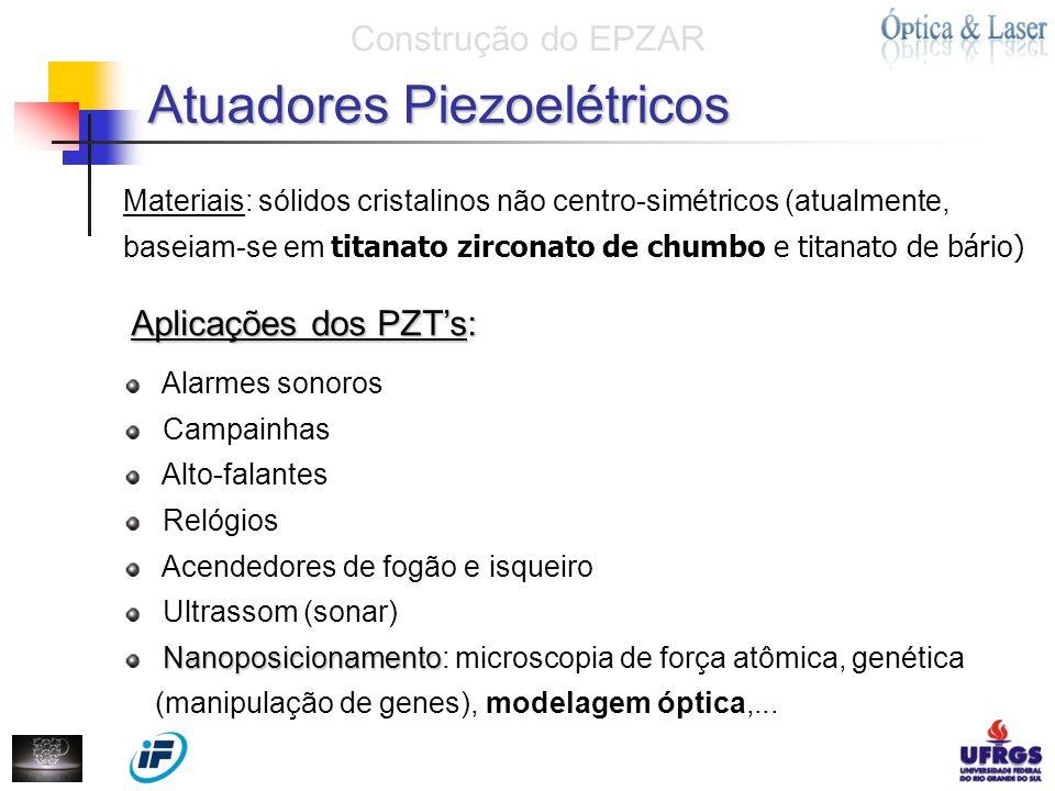 Aplicações dos PZTs: Alarmes sonoros Campainhas Alto-falantes Relógios Acendedores de fogão e isqueiro Ultrassom (sonar) Nanoposicionamento Nanoposici