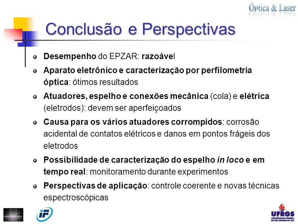 Conclusão e Perspectivas Conclusão e Perspectivas Desempenho do EPZAR: razoável Aparato eletrônico e caracterização por perfilometria óptica: ótimos r