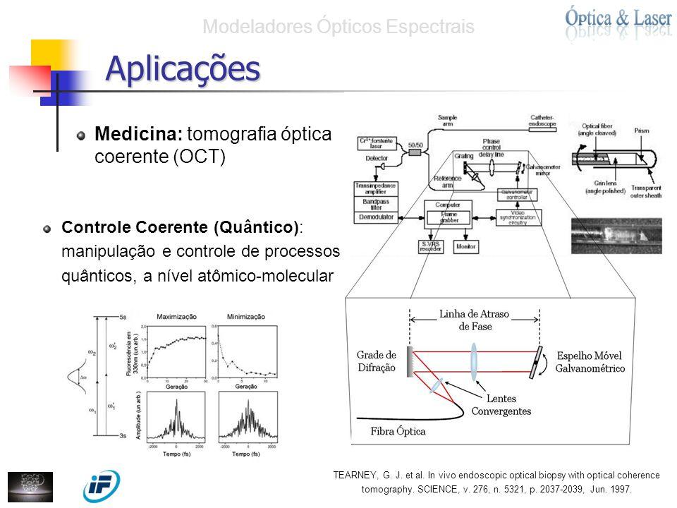 Medicina: tomografia óptica coerente (OCT) Aplicações Modeladores Ópticos Espectrais Controle Coerente (Quântico): manipulação e controle de processos