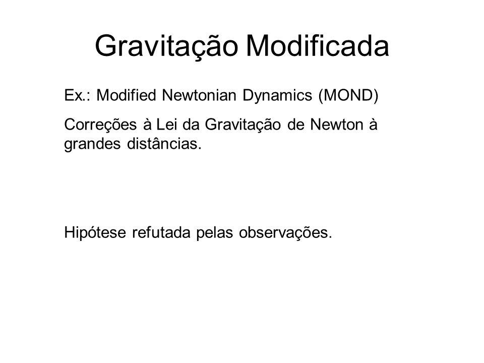 Gravitação Modificada Ex.: Modified Newtonian Dynamics (MOND) Correções à Lei da Gravitação de Newton à grandes distâncias. Hipótese refutada pelas ob