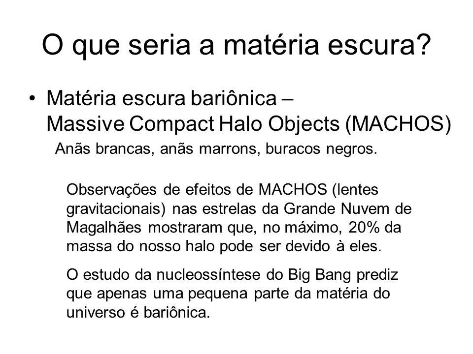 O que seria a matéria escura? Matéria escura bariônica – Massive Compact Halo Objects (MACHOS) Observações de efeitos de MACHOS (lentes gravitacionais