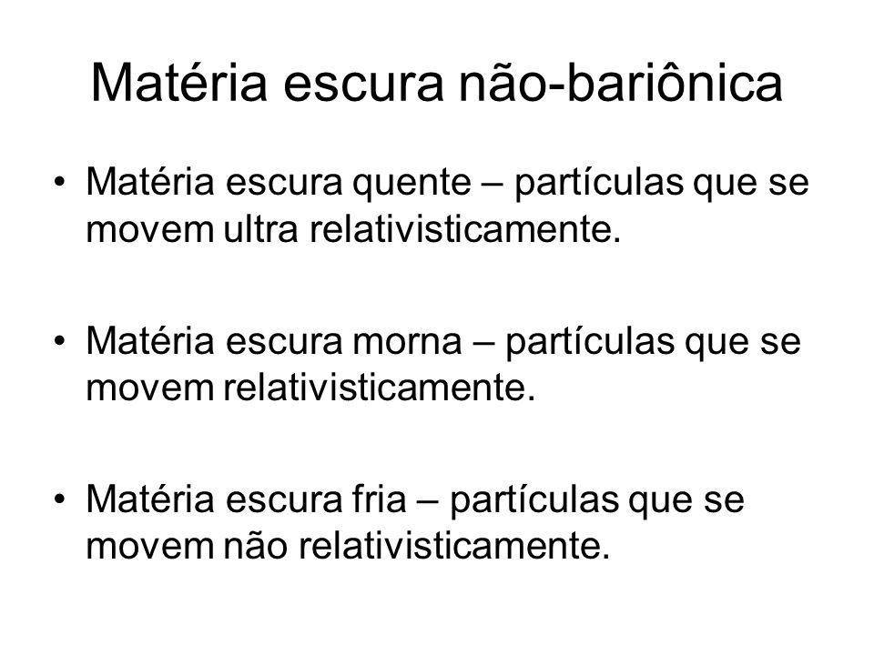 Matéria escura não-bariônica Matéria escura quente – partículas que se movem ultra relativisticamente. Matéria escura morna – partículas que se movem