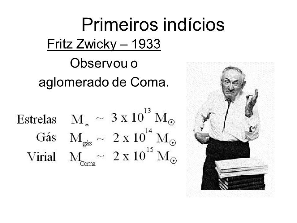Primeiros indícios Fritz Zwicky – 1933 Observou o aglomerado de Coma.