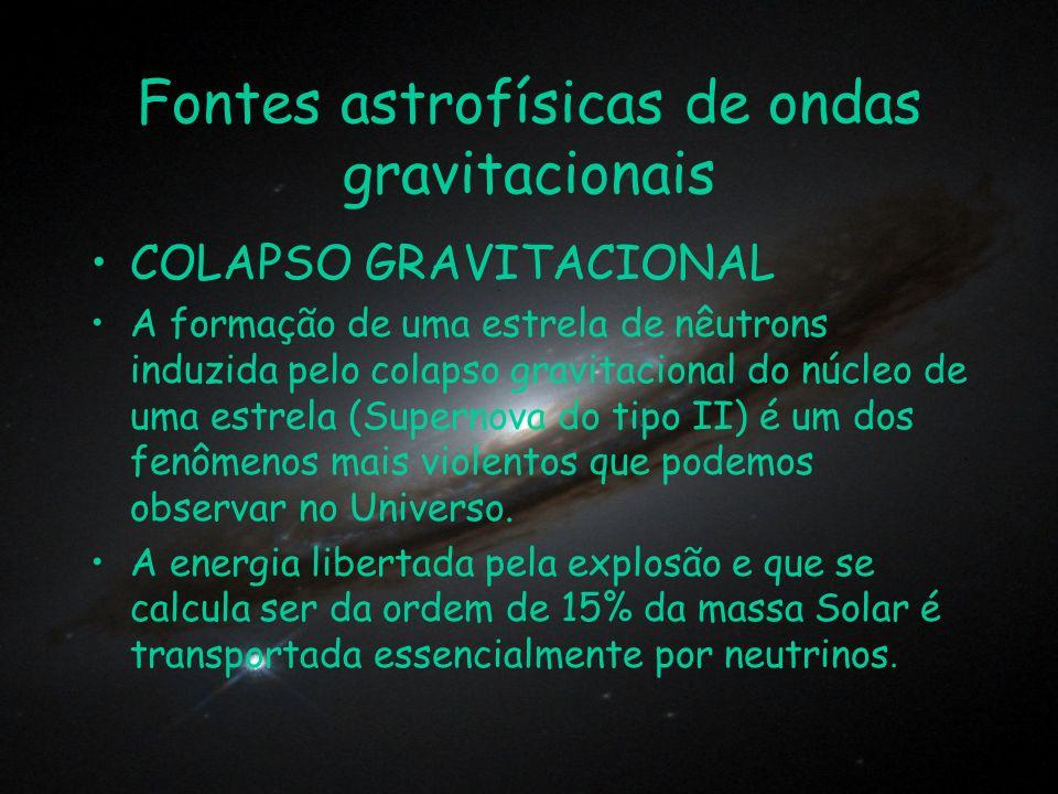 Fontes astrofísicas de ondas gravitacionais COLAPSO GRAVITACIONAL A formação de uma estrela de nêutrons induzida pelo colapso gravitacional do núcleo