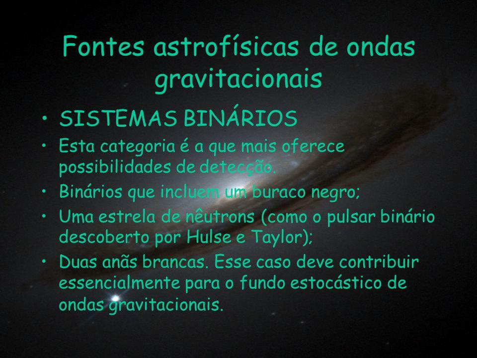 Fontes astrofísicas de ondas gravitacionais SISTEMAS BINÁRIOS Esta categoria é a que mais oferece possibilidades de detecção. Binários que incluem um