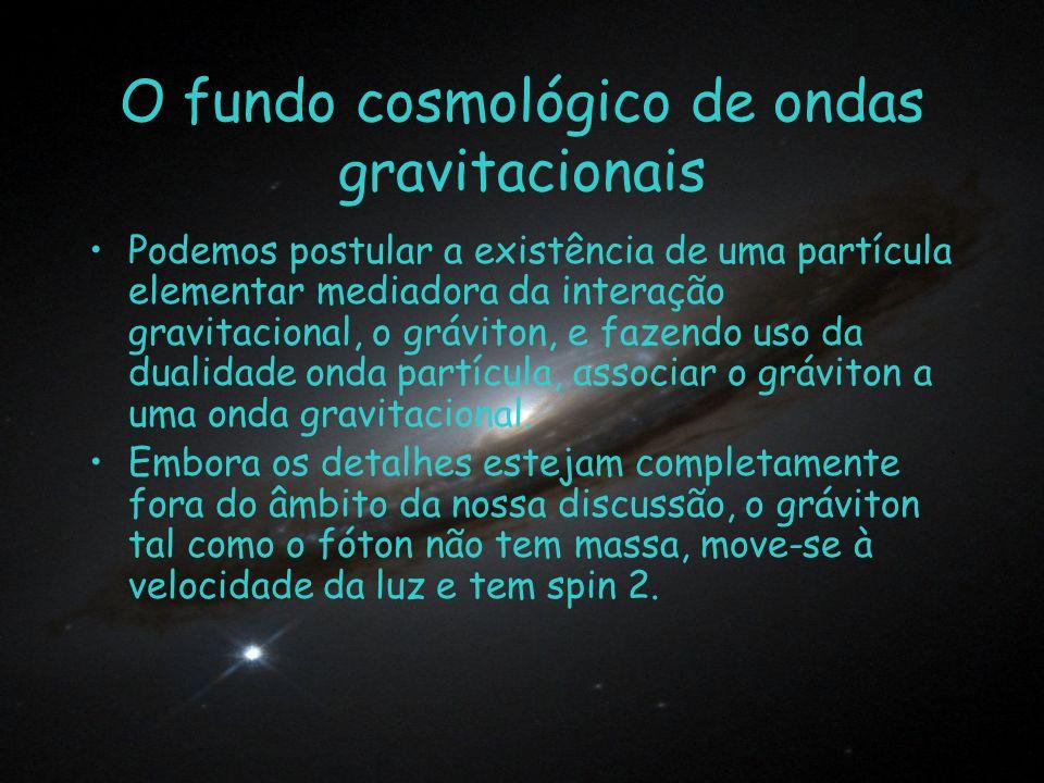 O fundo cosmológico de ondas gravitacionais Podemos postular a existência de uma partícula elementar mediadora da interação gravitacional, o gráviton,