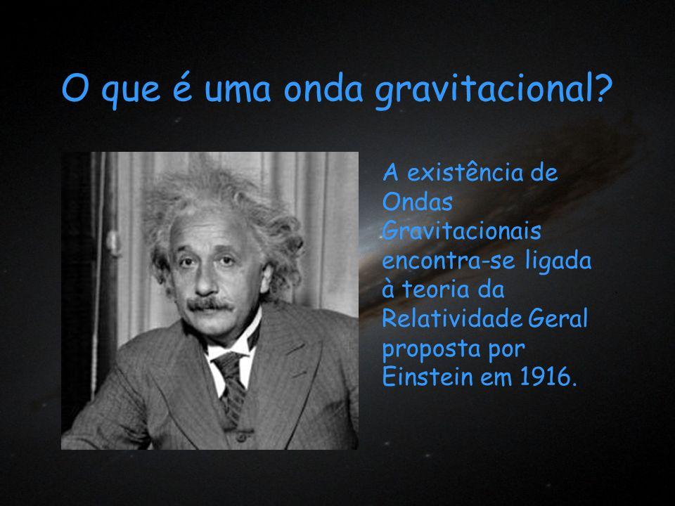 O que é uma onda gravitacional? A existência de Ondas Gravitacionais encontra-se ligada à teoria da Relatividade Geral proposta por Einstein em 1916.