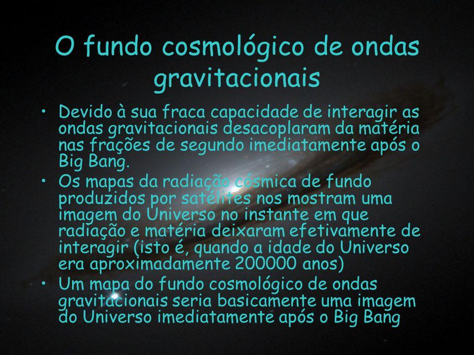 O fundo cosmológico de ondas gravitacionais Devido à sua fraca capacidade de interagir as ondas gravitacionais desacoplaram da matéria nas frações de