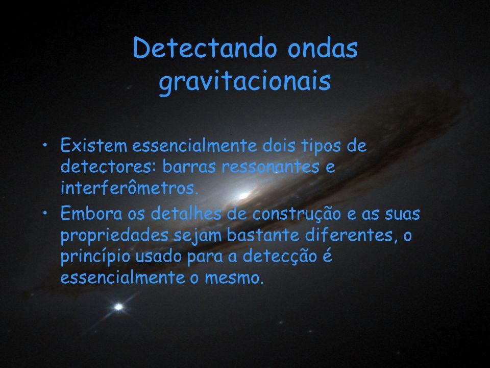 Detectando ondas gravitacionais Existem essencialmente dois tipos de detectores: barras ressonantes e interferômetros. Embora os detalhes de construçã
