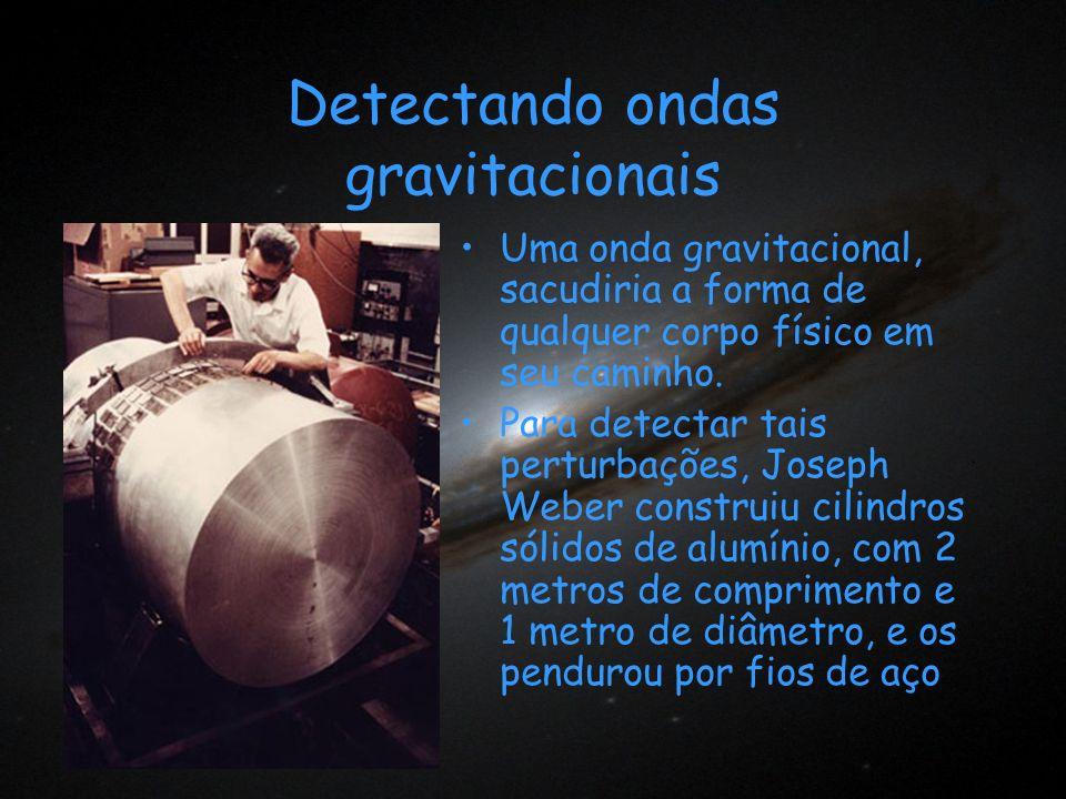 Detectando ondas gravitacionais Uma onda gravitacional, sacudiria a forma de qualquer corpo físico em seu caminho. Para detectar tais perturbações, Jo