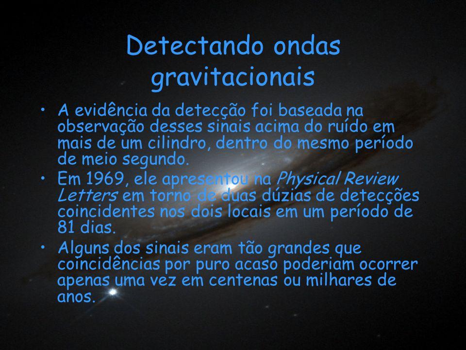 Detectando ondas gravitacionais A evidência da detecção foi baseada na observação desses sinais acima do ruído em mais de um cilindro, dentro do mesmo