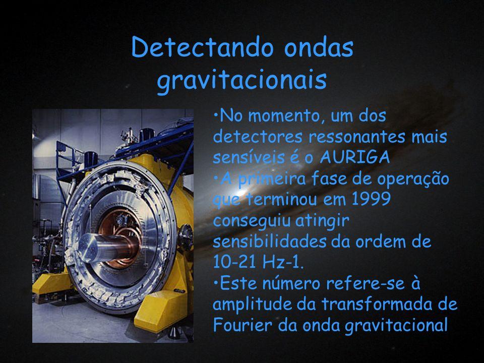 Detectando ondas gravitacionais No momento, um dos detectores ressonantes mais sensíveis é o AURIGA A primeira fase de operação que terminou em 1999 c