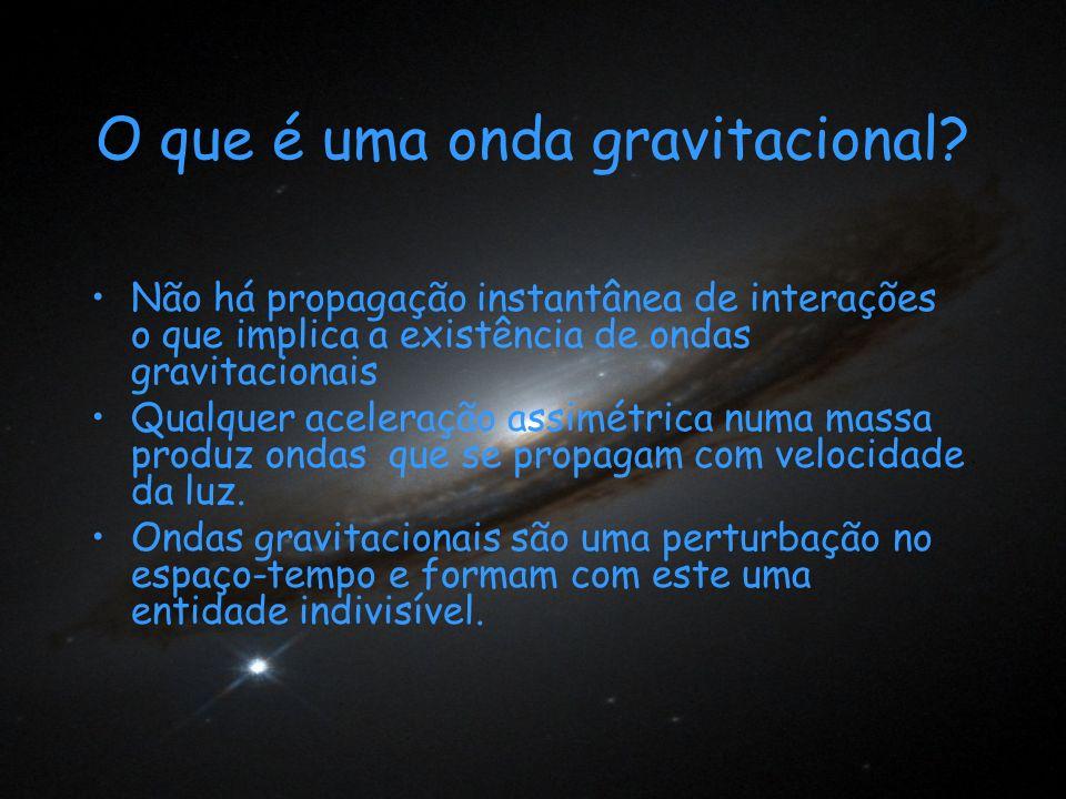 O que é uma onda gravitacional? Não há propagação instantânea de interações o que implica a existência de ondas gravitacionais Qualquer aceleração ass