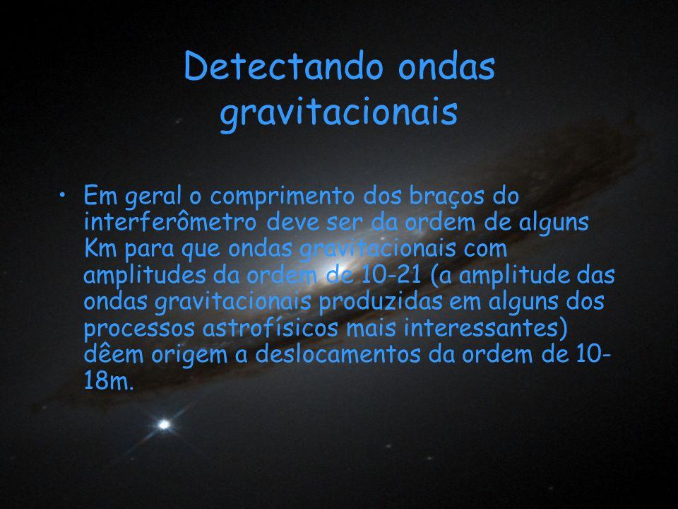 Detectando ondas gravitacionais Em geral o comprimento dos braços do interferômetro deve ser da ordem de alguns Km para que ondas gravitacionais com a
