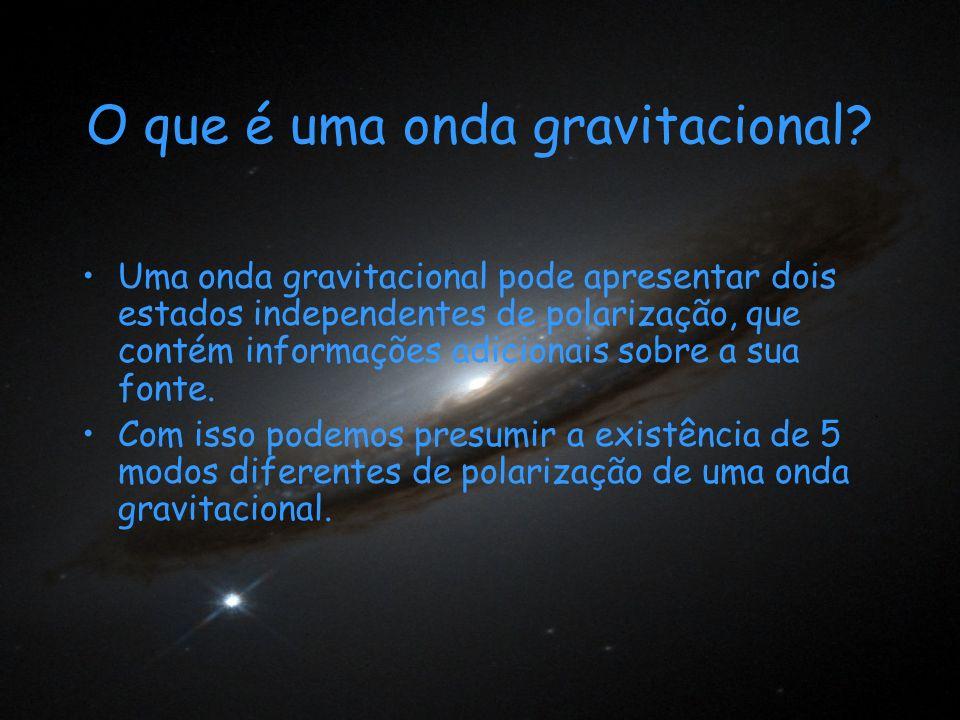 O que é uma onda gravitacional? Uma onda gravitacional pode apresentar dois estados independentes de polarização, que contém informações adicionais so