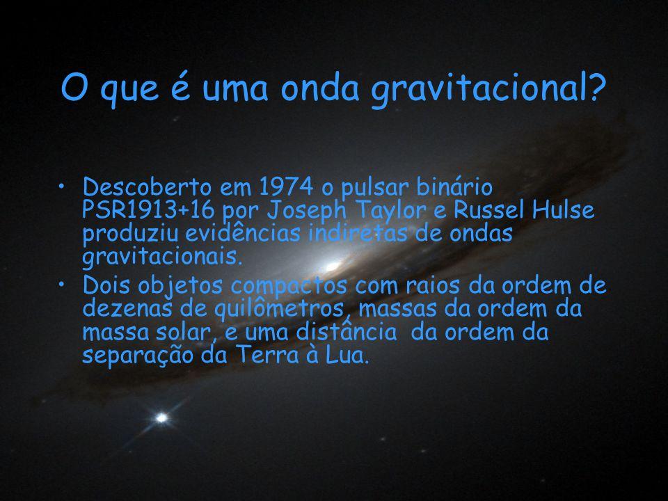 O que é uma onda gravitacional? Descoberto em 1974 o pulsar binário PSR1913+16 por Joseph Taylor e Russel Hulse produziu evidências indiretas de ondas